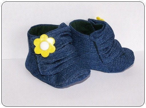 Baby Sneakers Size 2 Denim and Yellow Flower