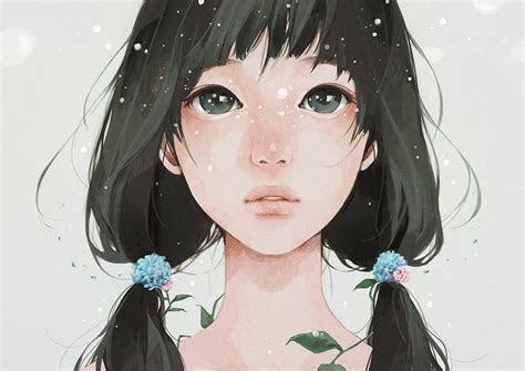 original anime girl face long hair black hair wallpaper