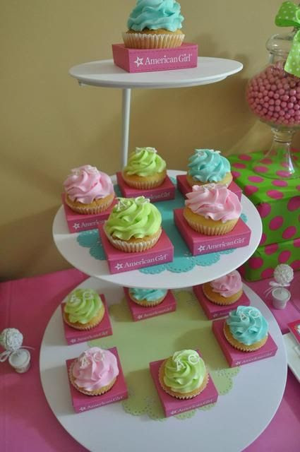 Love these cupcakes from an American Girl Birthday Party! See more party ideas at CatchMyParty.com!