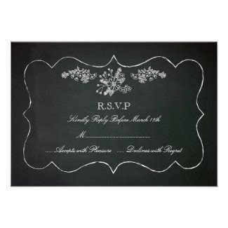 Vintage Chalkboard Wedding RSVP Card