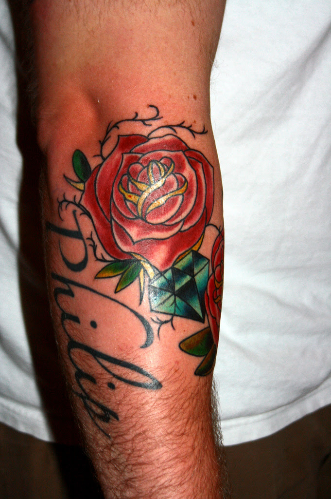 Red Rose Tattoo On Man Right Arm