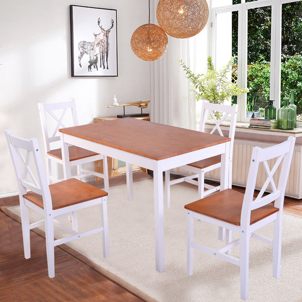 Solid Wooden Pine Dining Table And 4 Chairs Set Kitchen Dining Home Furniture UK  eBay