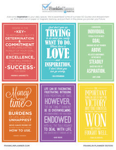 Weekly Tasks - I use Franklin Covey weekly compass cards ...