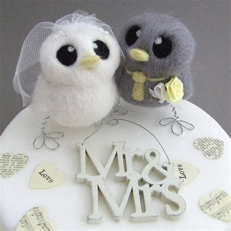bride and groom bird wedding cake topper by