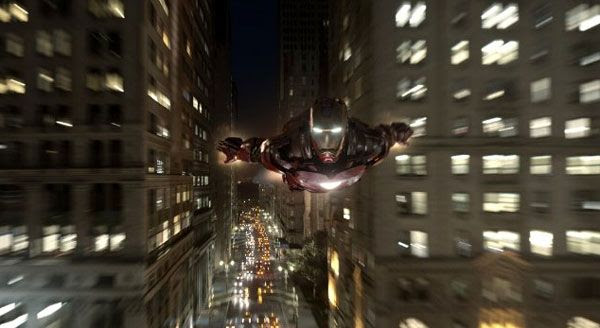 Iron Man soars through the city in THE AVENGERS.