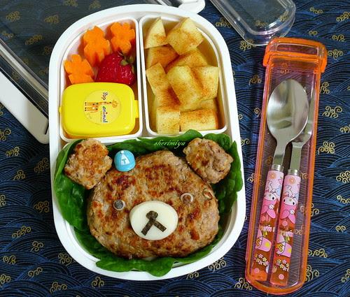 Rilakkuma Bear Burger Bento by sherimiya ♥