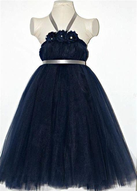 Navy Blue and Silver Tutu Dress, Wedding Flower Girl Dress