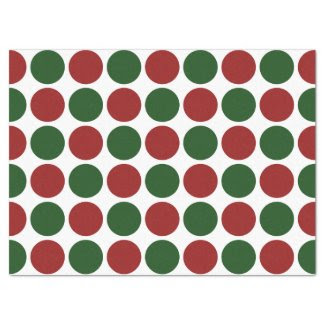 "Red and Green Polka Dots on White Tissue Paper 17"" X 23"" Tissue Paper"