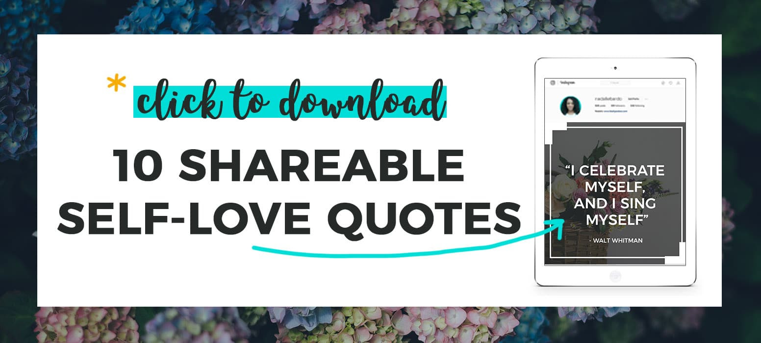 to 10 FREE shareable self love quotes graphic preview on iPad