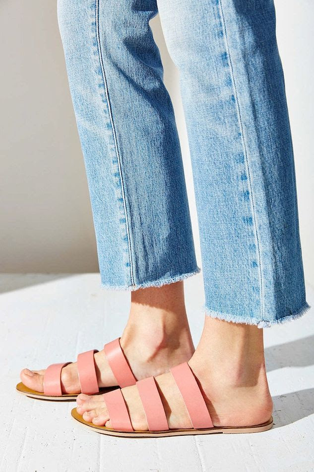 Le Fashion Blog Shoe Crush Pink Sandals Under 25 Fray Hem Jeans Affordable Summer Style Silence + Noise Lucia Strap Sandal photo Le-Fashion-Blog-Shoe-Crush-Pink-Sandals-Under-25-Fray-Hem-Jeans-Affordable-Summer-Style-Silence-Noise-Lucia-Strap-Sandal.jpg