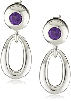 Sterling Silver Contemporary Amethyst Drop Earrings