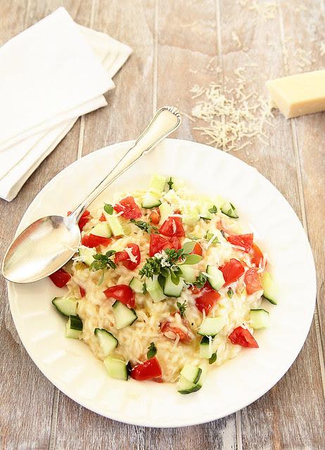 cucumber and cherry tomato risotto