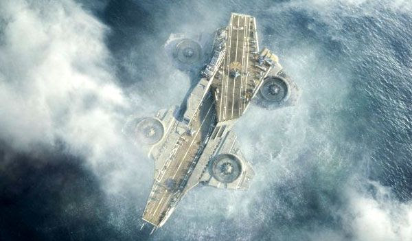 The S.H.I.E.L.D. helicarrier takes to the skies in THE AVENGERS.