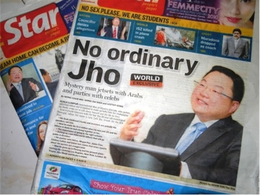 Jho Low - No Ordinary Jho - newspaper headline