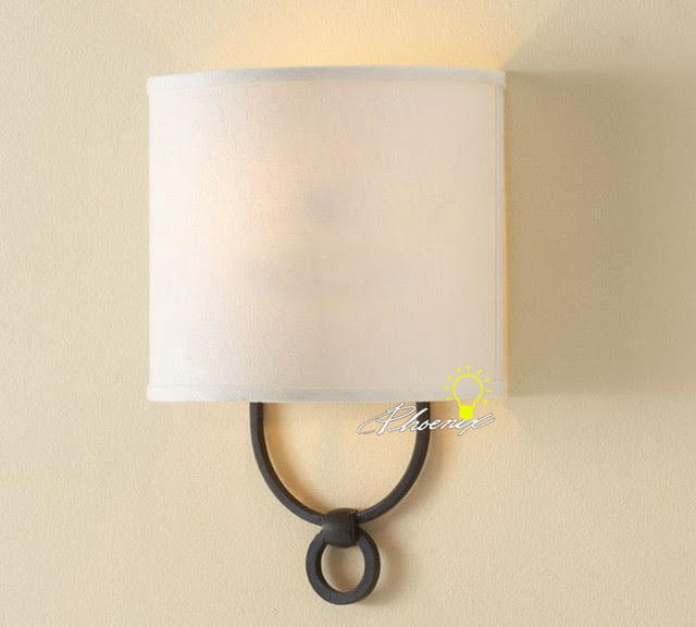 Antique Linen Shade Wall Sconce in Painted Finish - contemporary