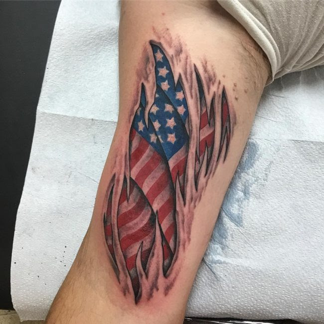 Fantastic Ripped Skin American Flag Tattoo Parryzcom