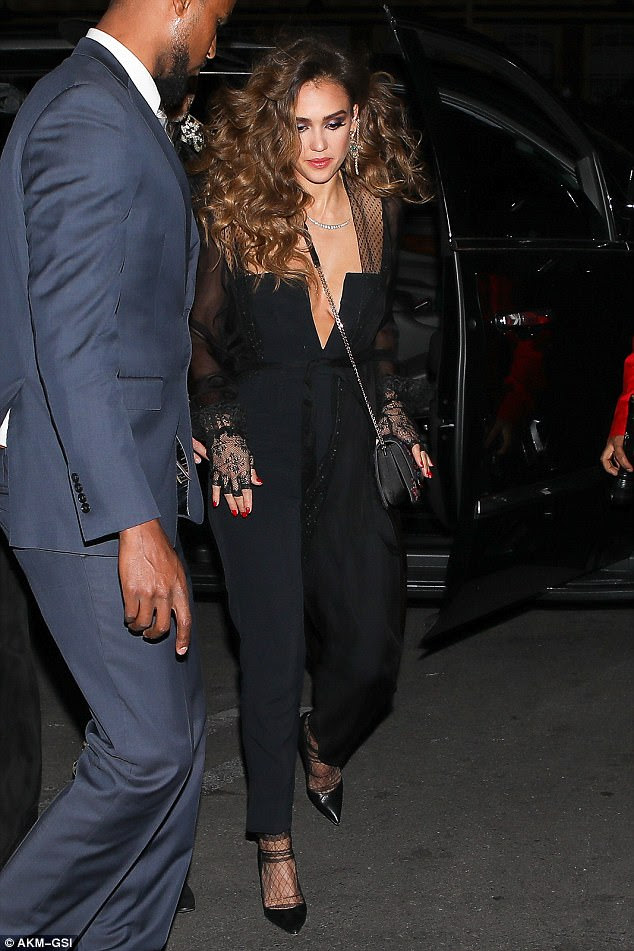 JESSICA ALBA LOOKS GLAMOROUSLY IN HER PLUNGING JUMPSUIT AS SHE CELEBRATES HER 36TH BIRTHDAY
