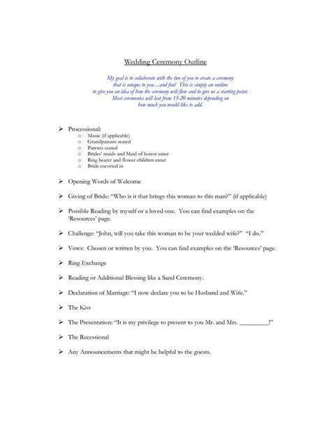 Wedding Ceremony Outline:    Victor & Holly's Wedding