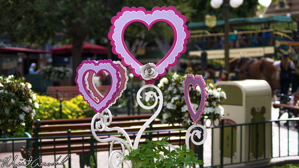 Disneyland Resort, Disneyland, Main Street, U.S.A., Valentine, Day, Heart, Decorations, Decor, Town, Square
