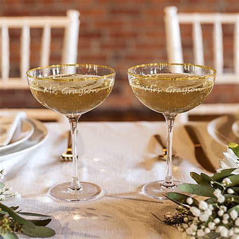 Gold Rim 8 Oz. Champagne Flutes Set Personalized