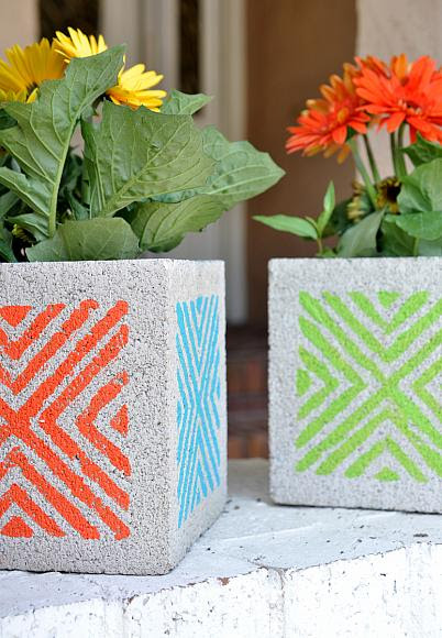 Stenciled Concrete Block Planters