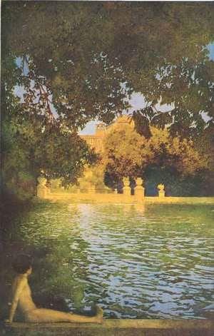 "Maxfield Parrish (American, 1870-1966). ""The Pool at Villa d'Este"" from ""Italian Villas and Their Gardens"" by Edith Wharton (1904)"