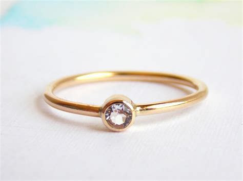 Simple White Topaz Ring: 14K Gold filled Ring, White Topaz
