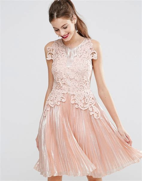 ASOS SALON Metallic Lace Applique Midi Skater Dress