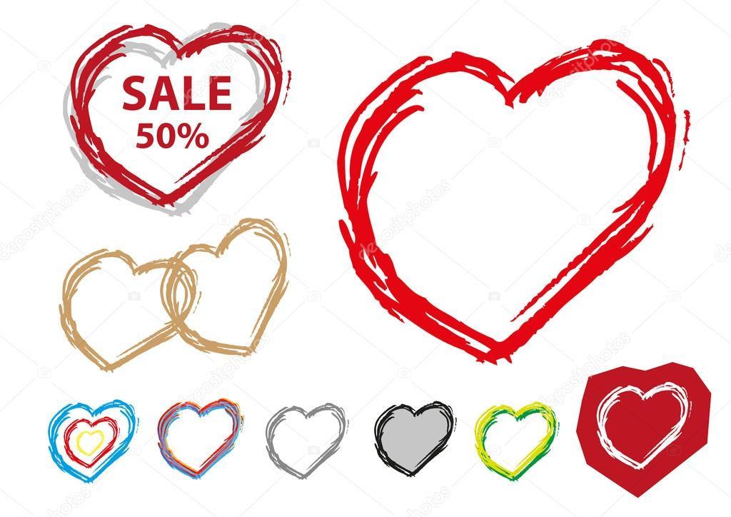 Heart Outline Handsketch style collection set. Editable Clip Art ...