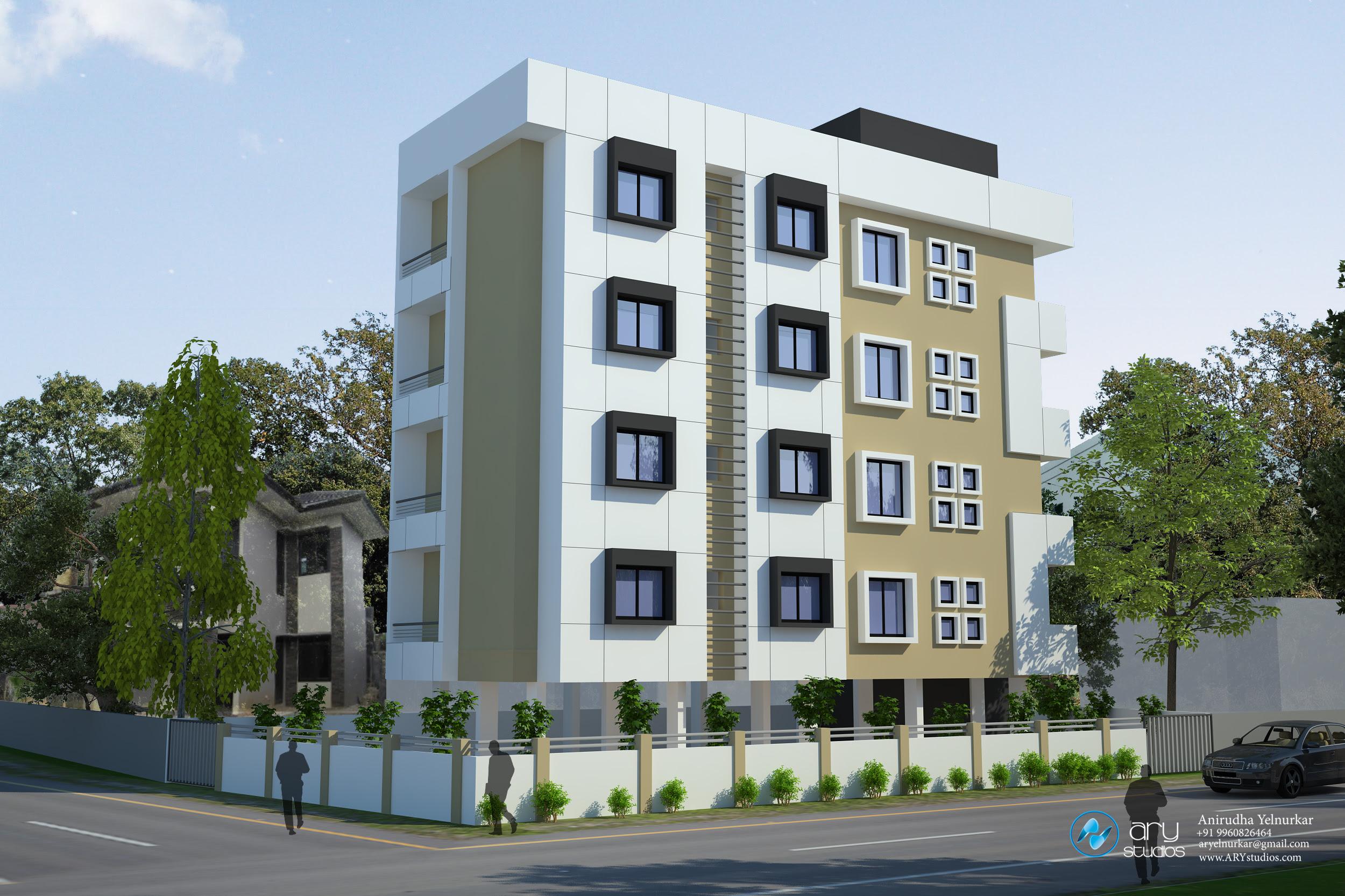 3D_Apartment_Building_Elevation_Aurangabad_India_ARY_Studios_balcony