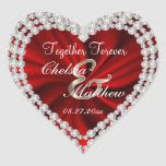 Wedding Day Red Satin | Personalize Heart Sticker