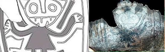 Fragmento de mate con la figura de Wiracocha hallada en Caral