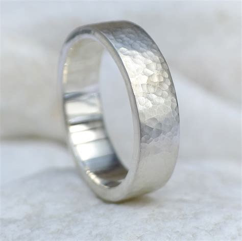 Mens Hammered Wedding Ring   Sterling Silver 6mm Band