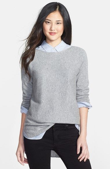 Halogen® High/Low Cashmere Tunic Sweater (Regular & Petite) | Nordstrom
