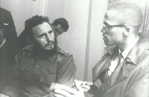 Left to right: Fidel Castro with Malcolm X
