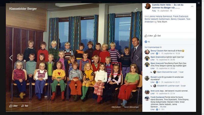 90b1159d johncons: Det her er visst Trine Skjelsbek, (storesøstera til Ole-Christian  Skjelsbek, som gikk i klassen min, på Berger skole og Svelvik ungdomsskole)