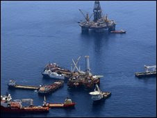 Rigs at the scene of the Deepwater Horizon disaster