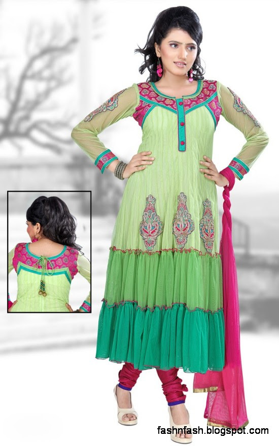Anarkali Fancy Pishwas Frocks-Anarkali Double Shirt Style Frock New Fashion Dress Designs 2013-4