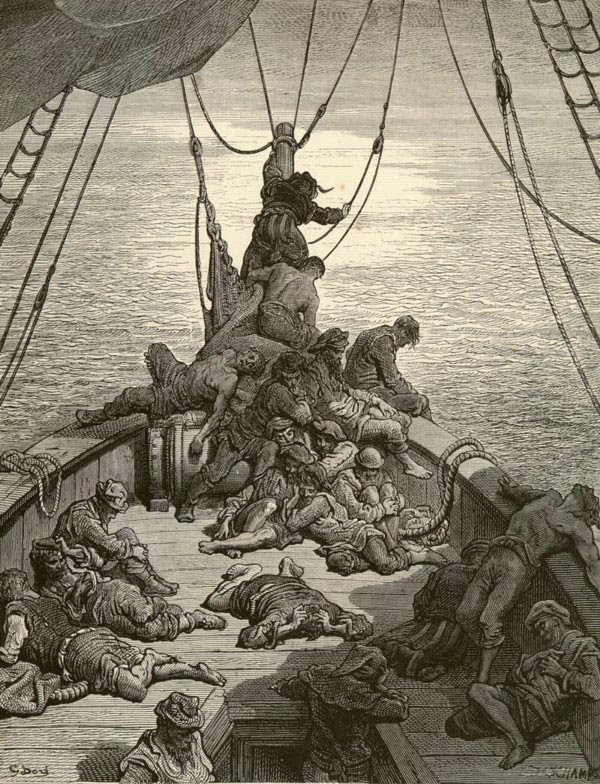 gua, água, quanta água em toda a parte, Sem gota que beber. Ilustrado por Gustave Doré.