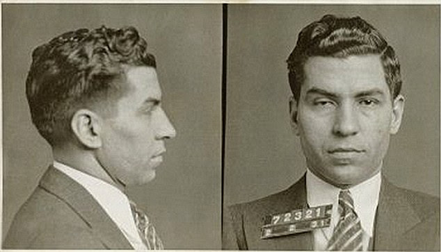 Caught: Gangster Charles Luciano in a February 1931 mugshot after he was arrested for leading a prostitution ring. His right eye is drooped after he was stabbed and left for dead, earning him the nickname 'Lucky'