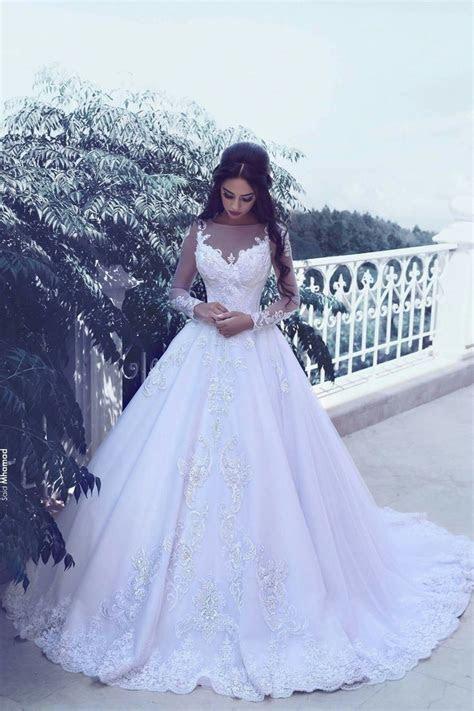 Elegant Tulle Appliques Long Sleeves Wedding Dresses 2019