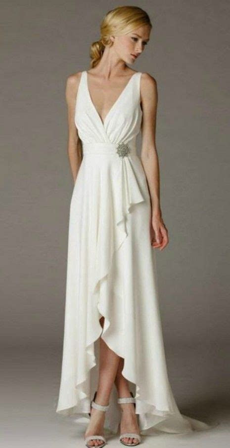 Simple Elegant High Low Wedding Dress for Older Brides