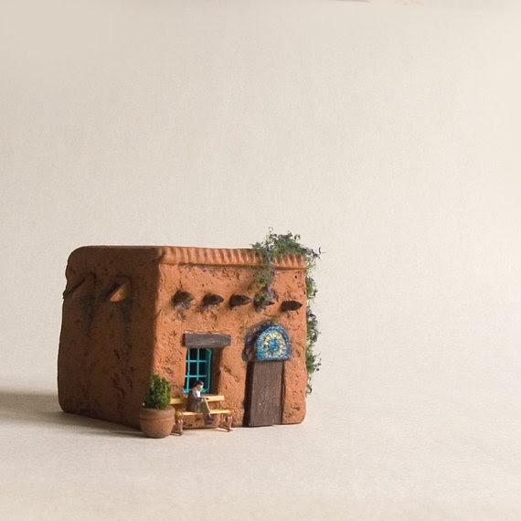 Adorable handmade adobe house by   Nicolas and Sofie via etsy.