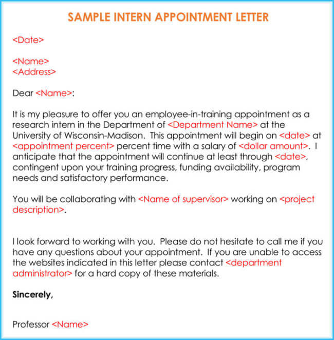 Sample Internship Offer Appointment Letters 7