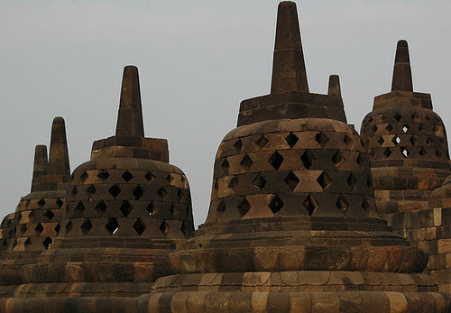 Stupas at Borobudur Temple Central Java