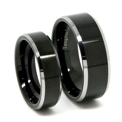 Matching Tungsten Wedding Band Set, Polished Black His 8MM