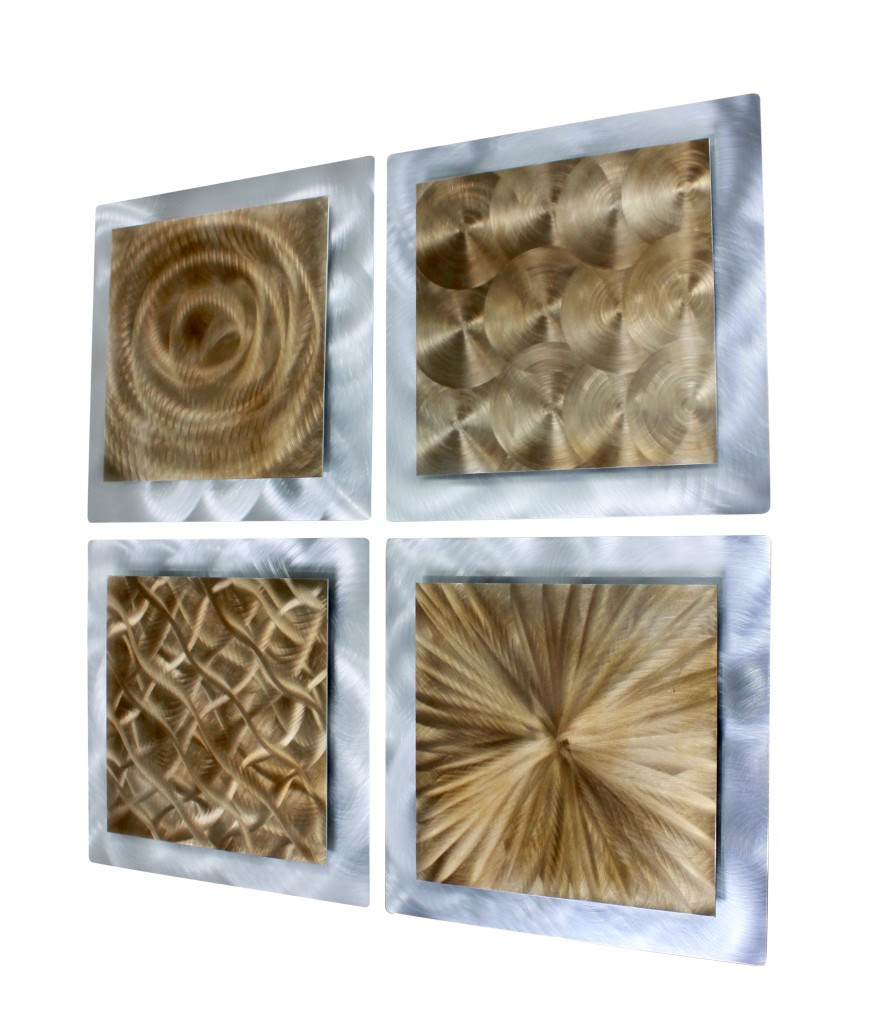 Gold/Silver Metal Abstract Modern Painting Wall Art Decor ...