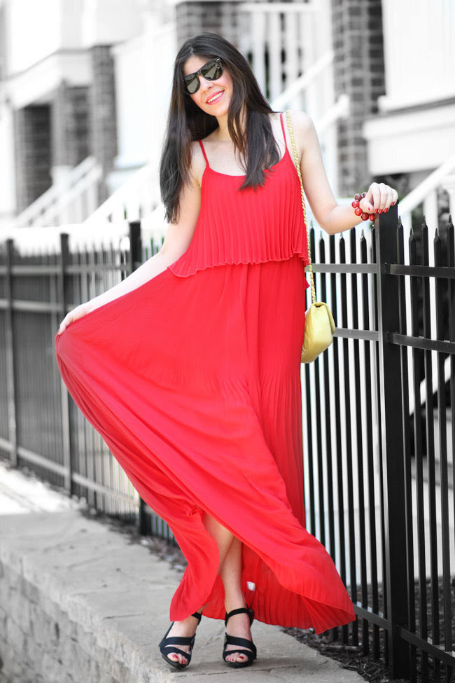 Fashion outfit, Red Pleated Maxi Dress