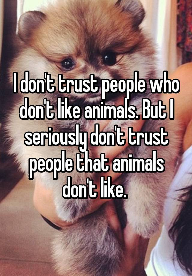 I Dont Trust People Who Dont Like Animals But I Seriously Dont