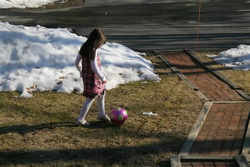 Kicking the soccer ball